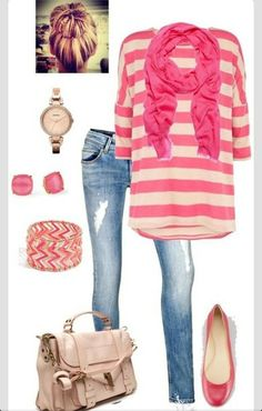 a6c8e95c79d Love the pink stripe shirt with the pink scarf!
