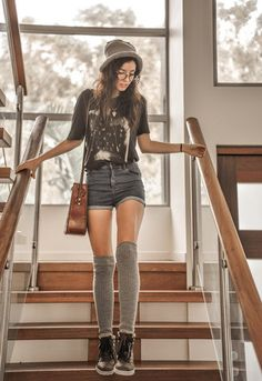 Women's Black Print Crew-neck T-shirt, Charcoal Denim Shorts, Black High Top Sneakers, Grey Knee High Socks