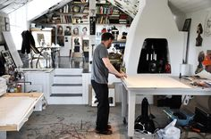 Jesper Waldersten's studio. In another photo, there's a Golden Retriever. Approve!
