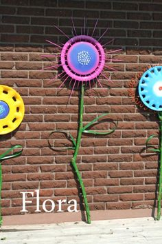 recycled hubcap flower