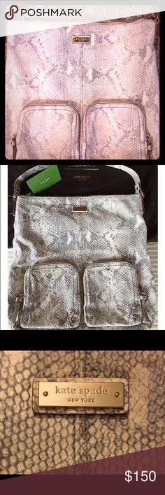 """Kate Spade Leather Snake Skin Leather Shoulder Bag Kate Spade Leather Exotic Snake Print Grey and Cream Shoulder Bag. 14""""Lx14.5""""Hx4.5""""W with strap drop 8"""". Used and has a few pen marks inside,  but still in fabulous condition. Kate Spade Bags Shoulder Bags"""