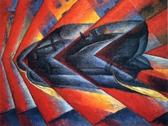 """FUTURISM. Luigi Russolo, """"Dynamism of a Car"""" (1912 - 1913) Celebrates speed and war. Men think and dream according to what they eat and drink. Challenges tradition and preconception."""