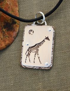 Giraffe Mokume Gane and sterling silver hand by JustPlainSimple Jewelry Tools, Jewelry Art, Jewelry Design, Jewelry Making, Enamel Jewelry, Silver Jewelry, Silverware Jewelry, Mixed Metal Jewelry, Jewelery