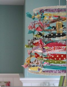 DoItYourself - Hanging lamp with ribbon.