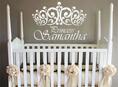 "Princess Wall Decal with crown,girls room,nursery,LARGE ,25 "" x 36"",wall decal,p"