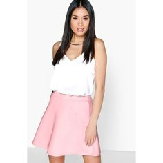 Boohoo Roseanna Fit And Flare Skater Skirt ($14) ❤ liked on Polyvore featuring skirts, rose, flared skirt, a line midi skirt, white a line skirt, circle skirt and white skirt
