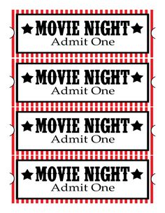 I put together these fun tickets for an upcoming family movie night.  So grab your cuties, a movie, a blanket and some popcorn and enjoy a f...