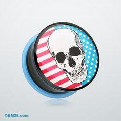 Skull Americana Single Flared Ear Gauge Plug #piercing #eargauge #plugs #jewelry #fashion