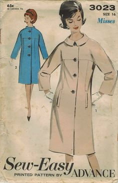 1960s Advance 3023 UNCUT Vintage Sewing Pattern Misses Coat Size 16 Bust 36