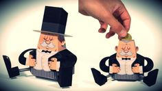 The French Fat Banker Piggybank Paper Toy - by Tougui - == -  What better place to store your coins than inside a Fat Banker Piggybank? A very original and fun paper toy by French designer Tougui.