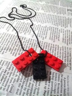 Red and Black Repurposed Lego Necklace by DPTsewinmachine on Etsy, $14.29
