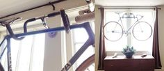 love this idea for hanging a bike
