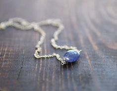 Tanzanite Necklace in Sterling Silver or 14k Gold by EleriaJewelry