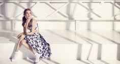 Etam Weekend spring summer 2015 Natalia Vodianova and Mark Segal blue set flower cropped mid length skirt