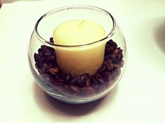 Coffee beans with vanilla candles, the perfect scent to relax to:)