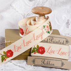 """Cotton Fabric Ribbon - Hand Printed 2m x 25mm /80""""x 1"""" cotton tape. Love Live Laugh cushion trimming. lampshade trimming. gift wrap."""