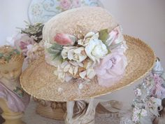 straw hat with pink flowers Tea Hats, Tea Party Hats, Women's Hats, Cloche Hats, Shabby Chic, Millinery Hats, Fancy Hats, Kentucky Derby Hats, Flowers
