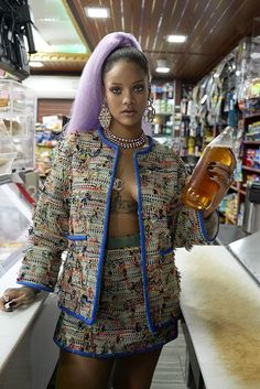 Rihanna Paper magazine march 2017 Chanel skirt suit, clip on earrings