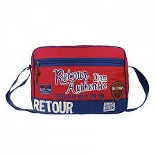 Schoudertas 'Top of the world' rood van het merk retour met een leuke print aan de voorkant en een fel blauwe rits op de voorzijde.