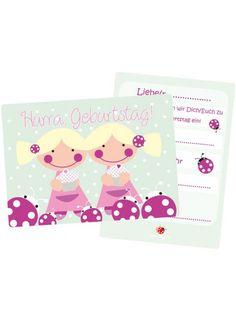 Einladung Kindergeburtstag Zwillinge 5er Set