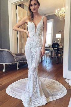 Mermaid Deep V-Neck Court Train Ivory Lace Wedding Dress With Appliques TN0111 #weddingdress
