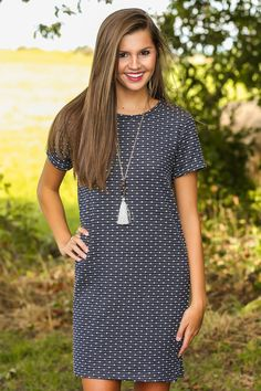 EVERLY: Sign on The Dotted Line Dress-Navy - All Dresses | The Red Dress Boutique