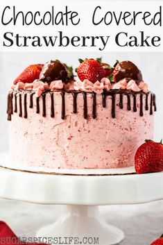 This Chocolate Covered Strawberry Cake has soft chocolate cake layers filled with a strawberry chocolate ganache frosted with strawberry buttercream and finished with cho. Coconut Hot Chocolate, Homemade Chocolate, Chocolate Ganache, Melting Chocolate, Dessert Chocolate, Chocolate Covered Strawberries Cake Recipe, Strawberry Cake Recipes, Strawberry Buttercream, Buttercream Cake