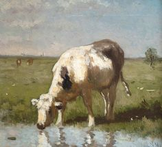 Cow Watering by a Pool by Anton Mauve | Art Posters & Prints