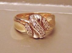 Vintage .30 Carat Diamond Band Ring in 14K Yellow Gold, White Gold, Wedding, Anniversary by EclairJewelry on Etsy