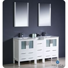 Add a sleek and modern look to your bathroom with this vanity from Fresca. A white finish highlights this double-sink vanity with frosted glass door panels and a stylish mirror.