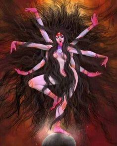 Indian Goddess Kali, Goddess Lakshmi, Indian Gods, Kali Hindu, Durga Maa, Hindu Art, Hanuman, Mahakal Shiva, Shiva Art