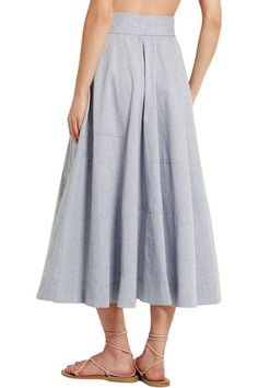 Gray cotton-chambray Button fastenings through front cotton Machine wash Linda Farrow Sunglasses, Umbrella Skirt, Chambray Skirt, Lisa Marie Fernandez, Midi Skirt, Gray, Elegant, Bikinis, Skirts