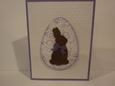 Used a background stamp for the egg behind the bunny and cut that egg out using Spellbinder dies. The bunny is a die from Impression Obsession and he is brown flocked card stock. Bow is a punch from M Stewart. TFL  My blog is: cardcornerbycandee.blogspot.com