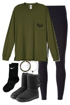 """""""I don't know either to go back or to stay, what should I do no turning back"""" by keileeen ❤ liked on Polyvore featuring NIKE and UGG Australia"""