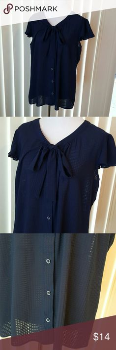 Navy Blue Sheer Button Up Blouse Size L. EUC. Button up flowy sheer blouse. Tie at neck. Attention Tops Blouses