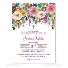 Niña bautizo Floral invitación bautizo por ThreeLittleParties
