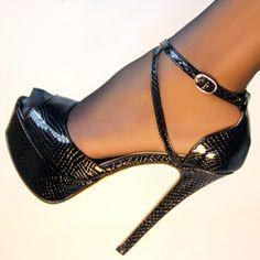ZriEy Cross-Strap Peep-Toe Stilettos Black Crocodile
