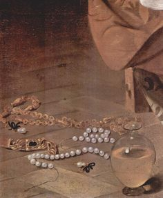 Details of jewels  paleologus: Caravaggio (1573–1610) Mary Magdalene, Detail: Pearls 1594-1596 Oil on canvas Galleria Doria Pamphilj Rome