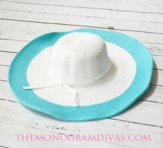 cc1c2deec5ce8a Monogrammed Two Tone Sun Hat. A steal $19.95 Sun Hats, Bridesmaid Gifts,  Bridesmaids