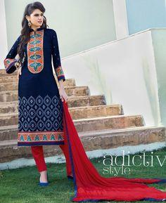 Buy Nice Blue Cotton Salwar Kameez online at  https://www.a1designerwear.com/nice-blue-cotton-salwar-kameez-3  Price: $35.50 USD