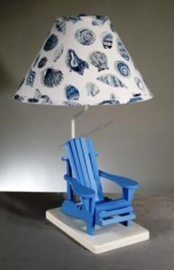 """Blue Beach Chair Electric Lamp w/Shell Shade 29"""" from Handcrafted Nautical Decor - In stock and ready to ship"""