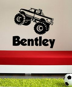Take a look at this Black Monster Truck Personalized Wall Decal Set by DecorDesigns on #zulily today!