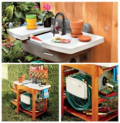 An Outdoor Garden Sink is ideal for many yard & garden tasks. Perfect for cleaning your garden tools, rinsing freshly picked vegetables, repotting plants, and washing your hands after working in the yard or grill.