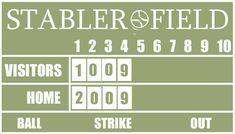 DIY Baseball Scoreboard Tutorial by Andrea from Signs by Andrea! Baseball Scoreboard, Baseball Art, Boy Room, Kids Room, College Boys, Paint Line, Sports Party, Baseball Season, Painters Tape