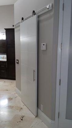 melrose solid core primed composite interior barn door slab with sliding door hardware kit