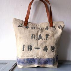 RAF 40'S era vintage canvas bag remake totebag  IND_BNP_00073 W44cm H40cm D15cm