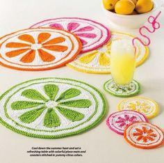 W918 Crochet PATTERN ONLY Citrus Drops Place Mat  Coaster Set Patterns