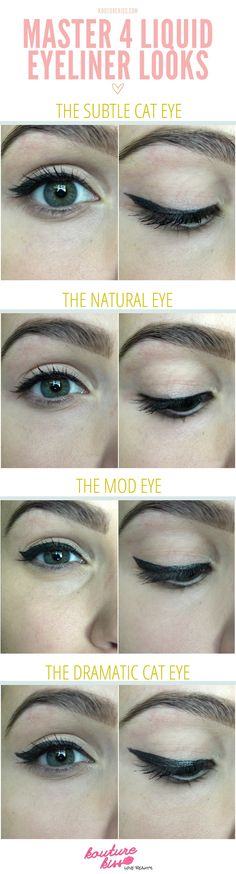 Change the appearance of your eyes with these 4 different eyeliner looks.