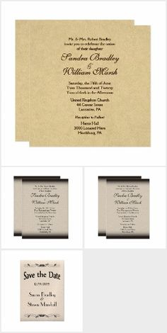  Leather Look Wedding Invitation Suite