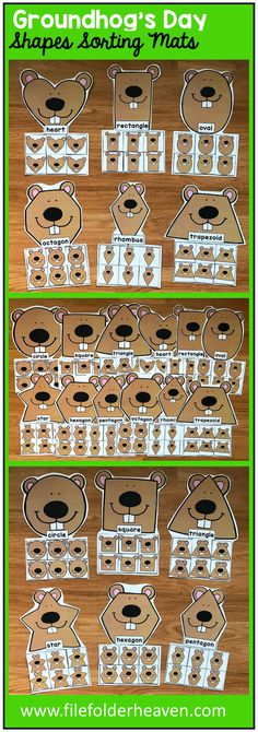 These Groundhog Shapes Sorting Mats include 12 unique sorting mats that focus on sorting groundhogs by shapes.  In a center or independent work station, students sort groundhog shapes into the mat with the groundhog that has the same shape. Shape mats included are:  circle square triangle rectangle oval heart star rhombus trapezoid pentagon hexagon octagon